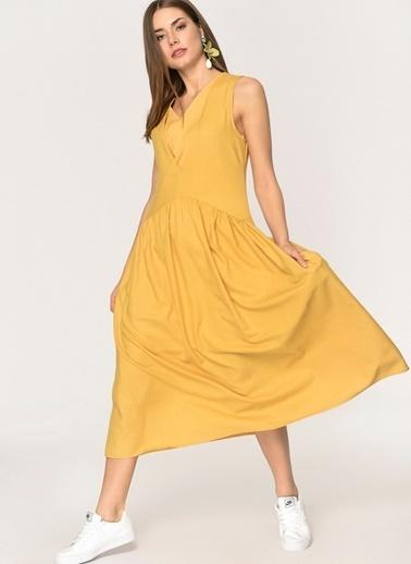 Loves You Robadan Büzgülü Keten Elbise Hardal